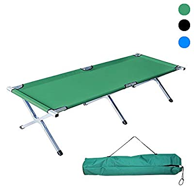 Cossy Home Folding Lightweight Bed & Portable Camping Cot with Carry Bag for Adults Hiking Hunting Traveling, Blue Black Green