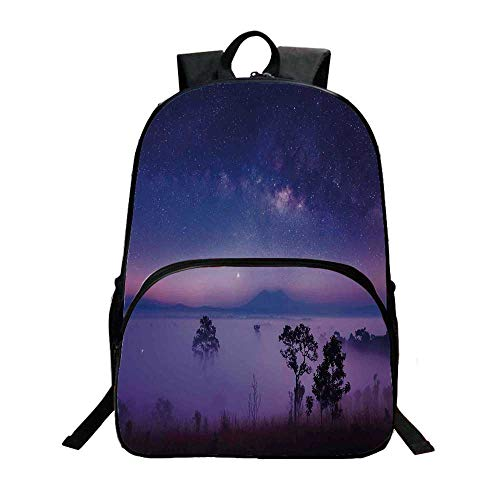 Space Fashionable Backpack,Milk Way Starry Night in a National Park Thailand Mystical Forest Scenery Picture for Boys,11.8