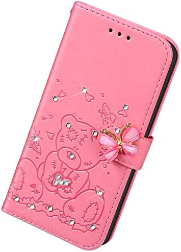 Uposao Kompatibel mit iPhone 11 Pro Max Hülle Leder Schutzhülle Klapphülle Ledertasche Glitzer Diamant Strass Bling Blumen Bär Muster Flip Case Brieftasche Handyhülle Kartenfächer,Rosa