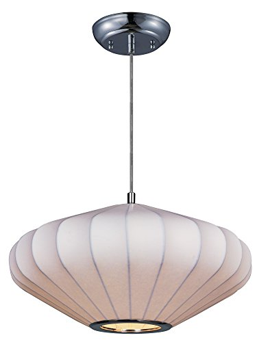 - Maxim 12185WTPC Cocoon 1-Light Pendant, Polished Chrome Finish, Glass, MB Incandescent Incandescent Bulb , 60W Max., Damp Safety Rating, Standard Dimmable, Textured Ribbed Glas Shade Material, 1260 Rated Lumens