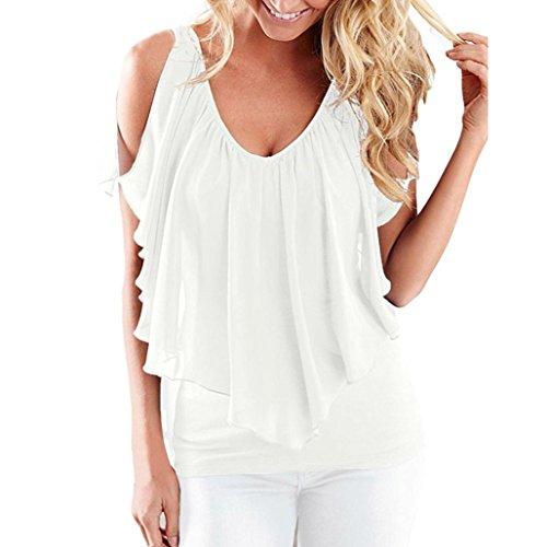 CUCUHAM Women Summer Irregular Chiffon Blouses Off Shoulder Shirts Tops (S, White)