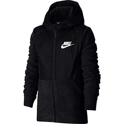 Nike Boys' Sportswear Polar Fleece Full-Zip Hoodie (Black/Large)
