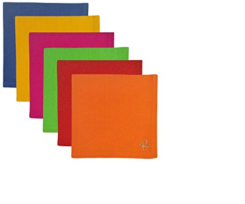 CC Home Furnishings Set of 6 Decorative Primary Colored Cotton Lunch or Dinner Napkins 18