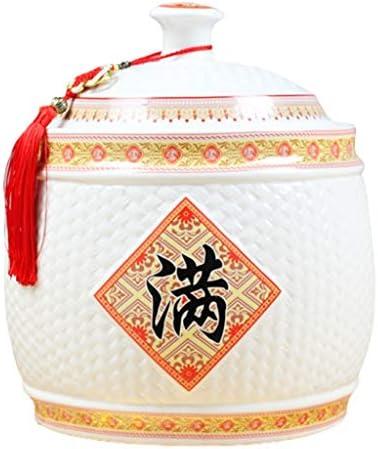 セラミックライスバケツ防湿防虫ライスストレージボックス蓋付きの家庭用ライスバケツ抗カビや劣化防止 保存容器 (Color : 白, Size : 12.5kg)