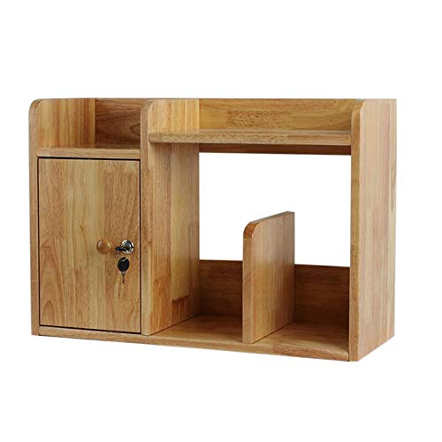 Cabinet Cd Storage Pine (Jcnfa-Shelves Desktop Bookcase Document Storage Cabinet Solid Wood Environmental Protection with Drawer 2 Materials (Color : Rubber Wood))