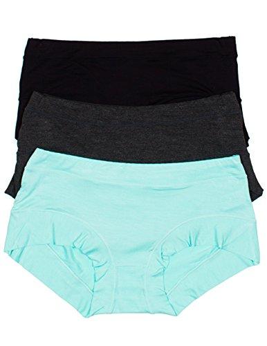 Lady Princess 3 Pack Super Soft Hipster Boy Short Panties (Medium, Aqua/Charcoal/Black)
