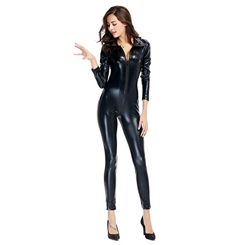 [Unisex Adult Halloween Cosplay Bodysuit Unitard Faux Leather Zipper Playsuit Sexy Catsuit (US 8-10,] (Black Bodysuit Costume)