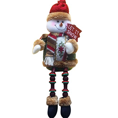 Santa Snowman Ornament (Christmas Snowman Doll,Elevin(TM) Christmas Decorations Santa Claus Sitting Porcelain Snowman Christmas Ornament)