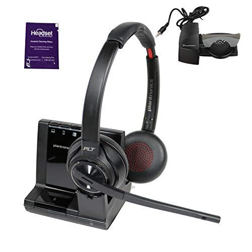 Plantronics Savi 8220 Wireless Headset System Bundle with Lifter and Headset Advisor Wipe- Productivity Package