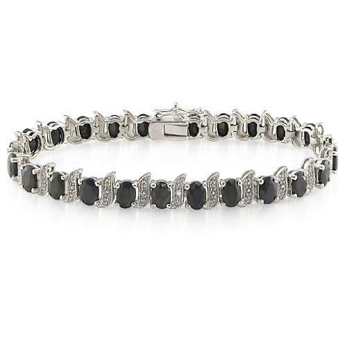 Sterling Silver Black Sapphire and Diamond Bracelet, (.03 cttw, I-J Color, I3 Clarity), 7
