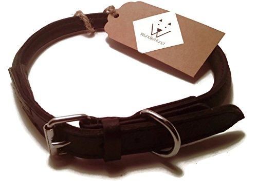 WunderHund Hundehalsband rund schwarz aus weichem echtem Leder in verschiedenen Größen erhältlich