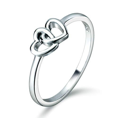 (Double Heart Rings, Sterling Silver Thin Rings, Stackable Ring for Women and Girls in)