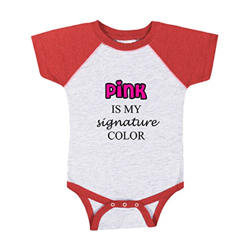 - Pink is My Signature Color Baby Baseball Raglan Bodysuit Gray/Red 24 Months