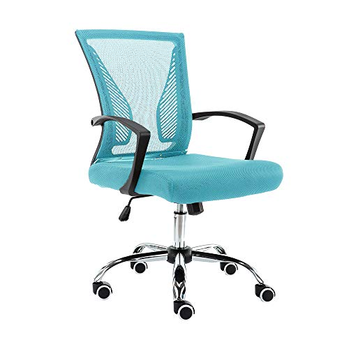 Modern Home Zuna Mid-Back Office Chair – Black/Aqua