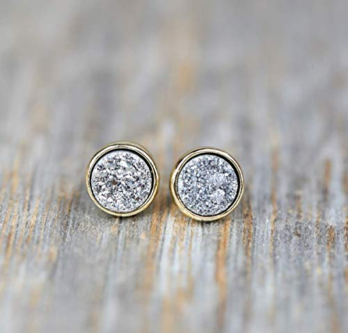 Silver Druzy Stud Earring silver Druzy Quartz- Gold Bezel- 8mm