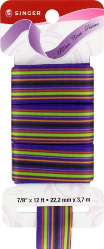 Purple Satin Stripe - Singer Satin Ribbon, 7/8-Inch by 12-Feet, Stripes Print, Grape Soda Purple