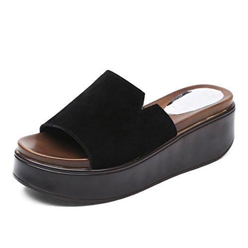 Alto Antideslizante Moda Plataforma Cool Fuera Zapatillas 40 Desgaste Dama Tacón Mop Impermeable Verano de de de Negro de Zapatos Resistente qw7nASgFP