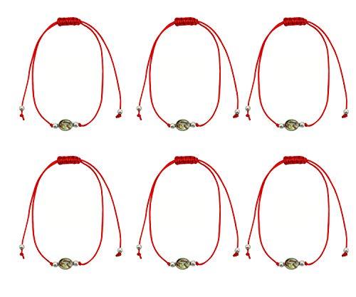 6 Pack Catholic Religious Saint Bracelet with Saint Medal Images,Handwoven Adjustable Red Cord,Rosary Bracelet Pulsera Roja Proctection Bracelet (St.Michael -