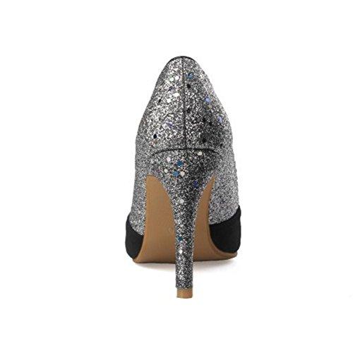 TAOFFEN Robe Femmes Silver Aiguille Escarpins 88qxHr0w