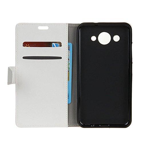 SRY-Conjuntos de teléfonos móviles de Huawei Con ranura para tarjetas, hebilla magnética, soporte incorporado, plano abierto el teléfono Shell para Huawei Y3 2017 Proteja completamente el teléfono ( C White