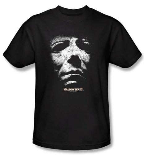 Halloween II T-shirt Movie Michael Myers Adult Black Slim Fit Shirt, (Halloween Laurie Strode)