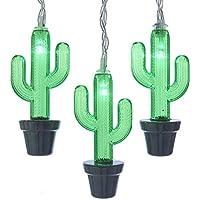 Kurt Adler Kurt S. Adler Battery-Operated 10 Cactus with Green LED Light Set (Black, Clear)