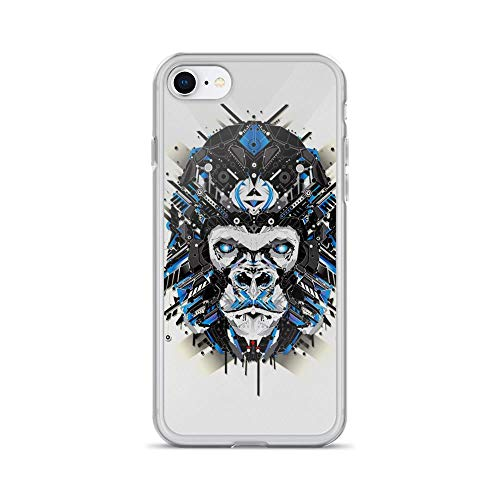 Todd Abstract Painting - iPhone 7/8 Pure Clear Case Cases Cover Electro Blue Ape Portrait Abstract Painting