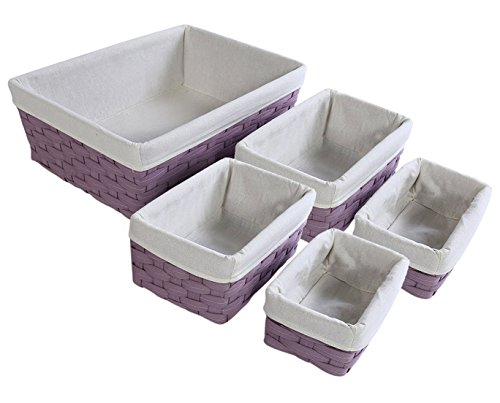 Nesting Basket - 5-Piece Utility Storage Baskets, Purple Wicker Decorative Organizing Baskets, Lavender Baskets Shelves for Kitchen, Bathroom Bedroom - 2 Small, 2 Medium, 1 Large
