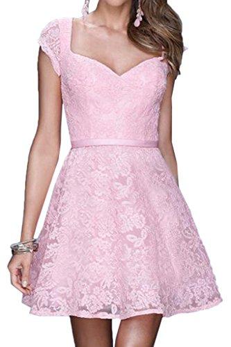 ivyd ressing Donna Sweetheart pizzo Mini Breve giromanica Prom abito Fest Cocktail vestito da sera Rosa 44