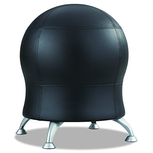 Safco Products Zenergy Ball Chair 4751BV, Black Vinyl, Low Profile, Easy-to-Clean, Steel Legs ()