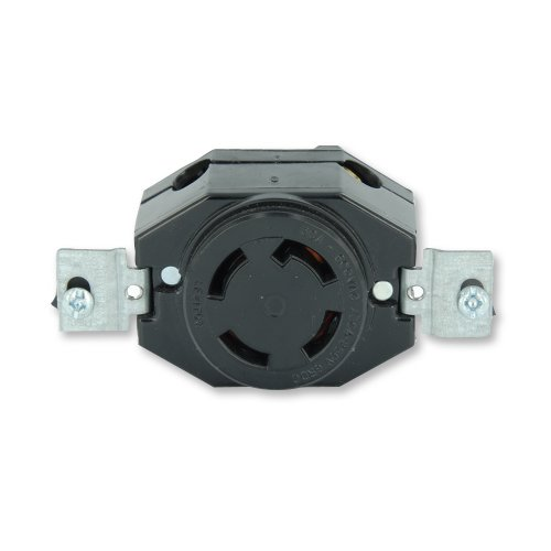 Non Nema Locking Flush Receptacle - Leviton 3430 30 Amp, 120/208Volt- 3PY, Flush Mounting Locking Receptacle, Industrial Grade, Non-Grounding, Black