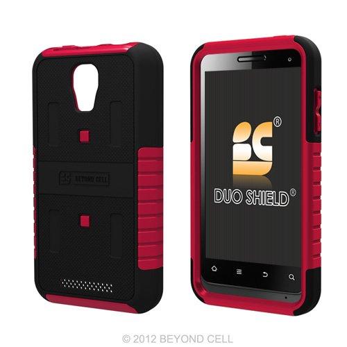 Magenta Protector Case Shield (Duo Shield Hybrid Case Cover + Screen Protector Film for ZTE V8000 - Black/Magenta)