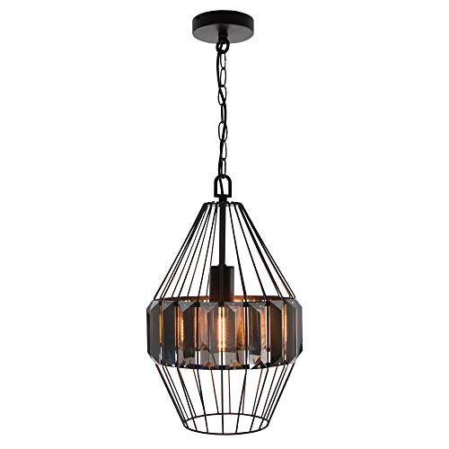 1-Light Vintage Matte Black Cage Metal and Crystal Shade Hanging Pendant