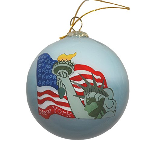 Hand Painted Glass Christmas Ornament - Statue of Liberty & USA Flag ()