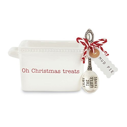 Mud Pie 4851091T Treats Ceramic Candy Dish, White