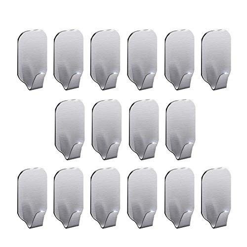 16 Pack Adhesive Hooks, Self Adhesive Wall Hooks for Key Robe Coat Towel, Heavy Duty Stainless Steel Wall Mount Hooks for Kitchen Bathroom Toilet