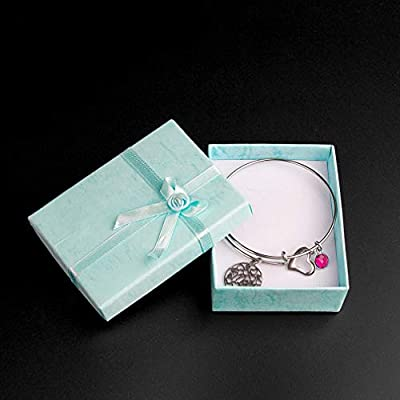 GAUSKY Mothers Day Gift Bracelet Bangle Expandable Charms with a Blue Bead for Women Mom from Daughter Son