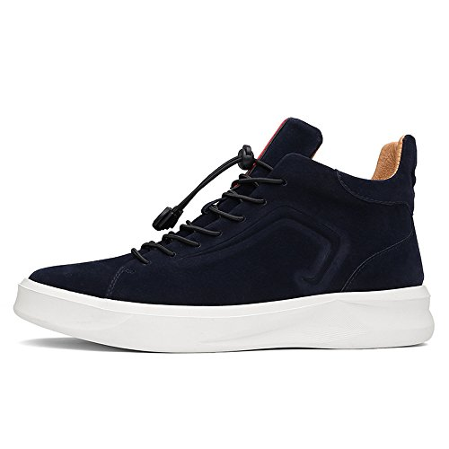 SUNROLAN Mens Suede Leather Modern Fashion High-top Outdoor Athletic Running Sneakers Boot Shoes Suede Navy Blue 1UXUchWC