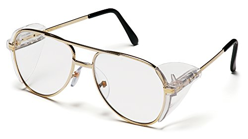 (Pyramex Pathfinder Aviator Safety Glasses with Gold Frame and Clear Lens)