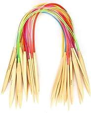 Conjunto de agulhas de tricô de bambu, agulhas de tricô de madeira multicoloridas, conjunto de agulhas de tric