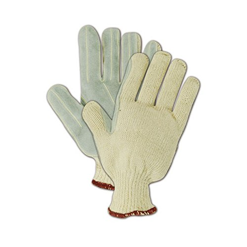 Gray Leather Palm Glove (Magid Glove & Safety G16LEA9 Magid DuraMaster G16LEA Machine Knit Cow Split Leather Palm Glove, Ladies X-SMALL (Fits XX-Small), Off Gray , 9 (Pack of 12))