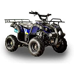 "MOTOR HQ 125cc ATV Fully Automatic Four Wheelers 4 Stroke Engine 7"" Tires Quads for Kids Blue"