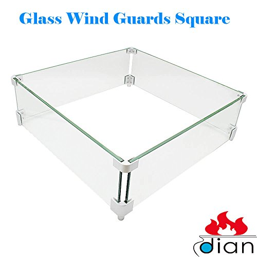 DIAN Outdoor Fire Pit Tempered Glass Wind Resistant Wind Screens Wind Guards Square 20 x 20 (Guard Square)