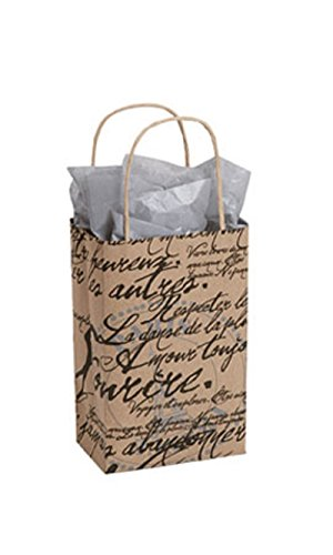 """Small Paris Script Paper Shopping Bag 5 ¼""""L x 3 ½""""D x 8 ½""""H Case of 25 (Cabinet Paris Bookcase)"""