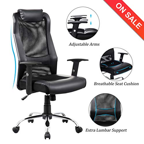 Task Chair Office Arm - VANBOW Extra High Back Mesh Office Chair - Adjustable Arms Ergonomic Computer Desk Task Chair with Padded Leather Headrest and Lumbar Support, Black