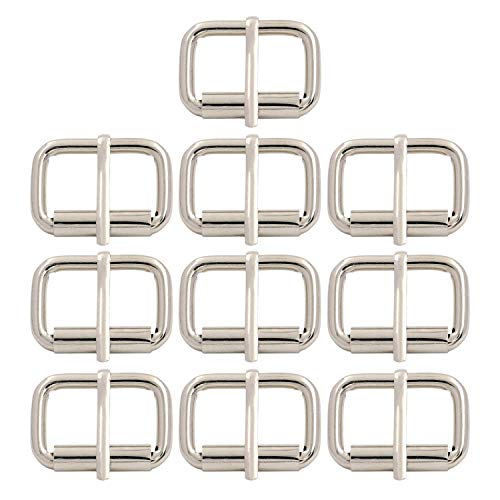 BIKICOCO 1'' x 3/5'' Roller Pin Buckles Handmade Hardware for Bags Leather Belt Webbing Straps, Silver - Pack of 10