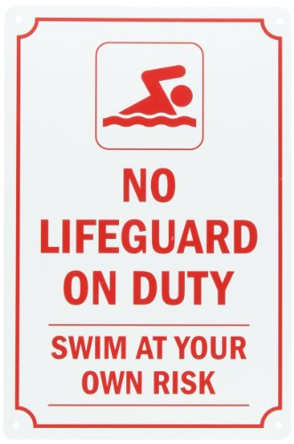 SmartSign Plastic Sign, Legend No Lifeguard on Duty Swim at Your Own Risk, 15