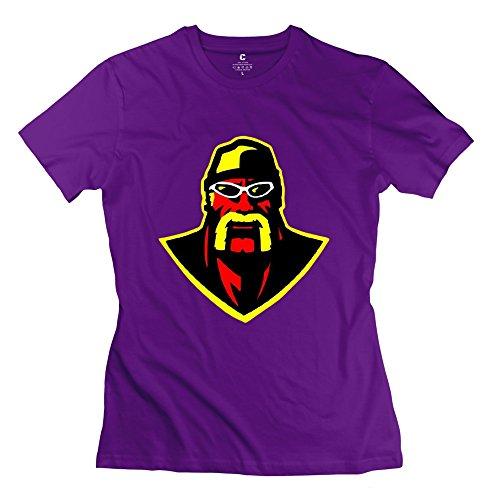 WWE Wrestler Hulk Hogan Head Screw Neck 100% Cotton T-shirt Size L Purple