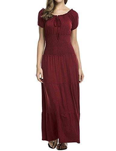 Fanala Women Boho Cap Sleeve Hippie Sun Maxi Dress (Sleeve Dress Waist Cap Tie)