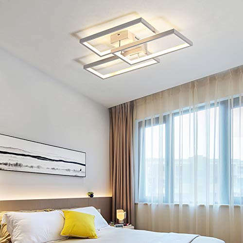 LightInTheBox 3 Lights LED Square Ceiling Light Painting Finish Contemporary Flush Mount Lighting Fixture for Home Living Room, Bedroom Decoration Bulb Included (White, Warm White)